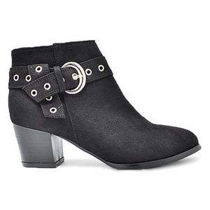 Shoes - Vegan Suede Ankle Booties with Silver Bluckle